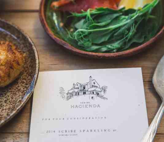 Close up restaurant menu and food