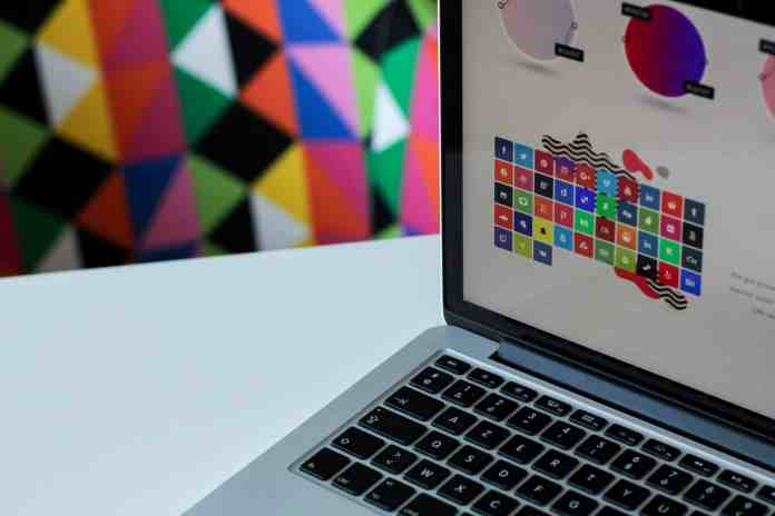 Laptop with colorful graphic design