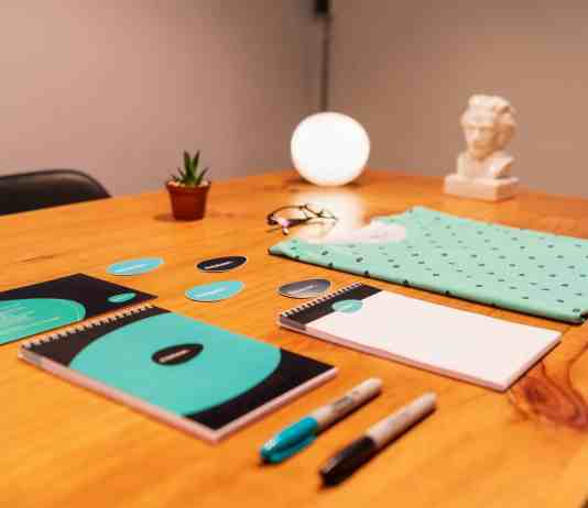 Matching branded print products organized on a table