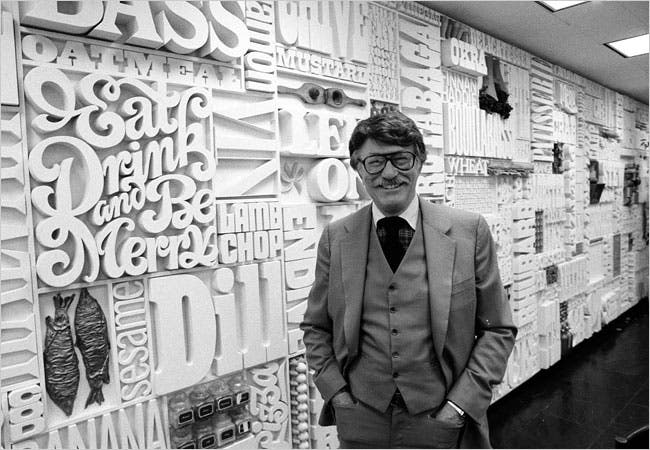"""Lou Dorfsman in 1982, at the """"Gastrotypographicalassemblage"""""""