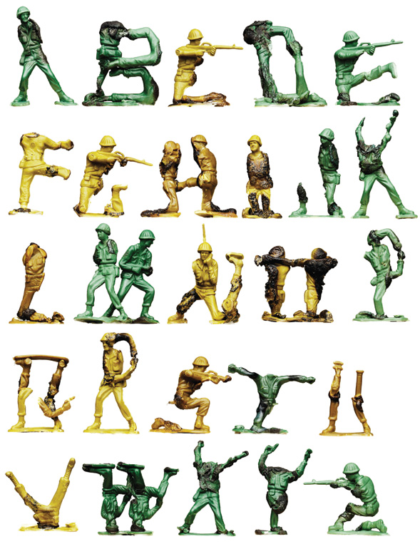 Three-dimensional alphabet created from melted plastic army figures.