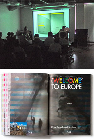 """Top: Vinca Kruk and Daniel van der Velden on stage at Otis. Photo by Michael Dooley. Bottom: a spread from Metahaven's new book, """"Uncorporate Identity."""""""