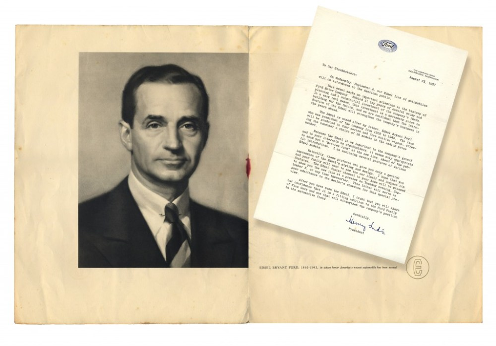 Announcement's opening with picture of Edsel Ford and a letter to stockholders from Henry Ford II.