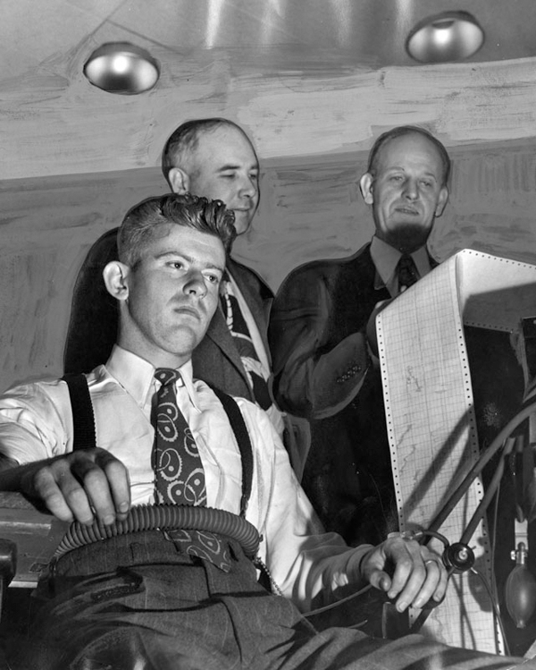 """Robert &quo t;Red"""" Manley submitting to a polygraph. Photo courtesy of LAPL."""