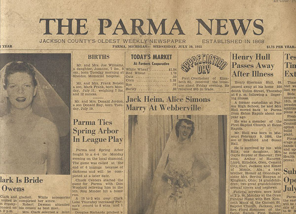 The flag for The Parma News was handset by Lee in 72-point Goudy Bold. He made the change for the September 25, 1947, issue. The typeface was used until November 16, 1966, around the time that Tom left. (No one is exactly sure when Tom quit.) By then, Lee had had a cut made of the flag, and reduced it by 33 percent or so. The type was put back in the cabinet.