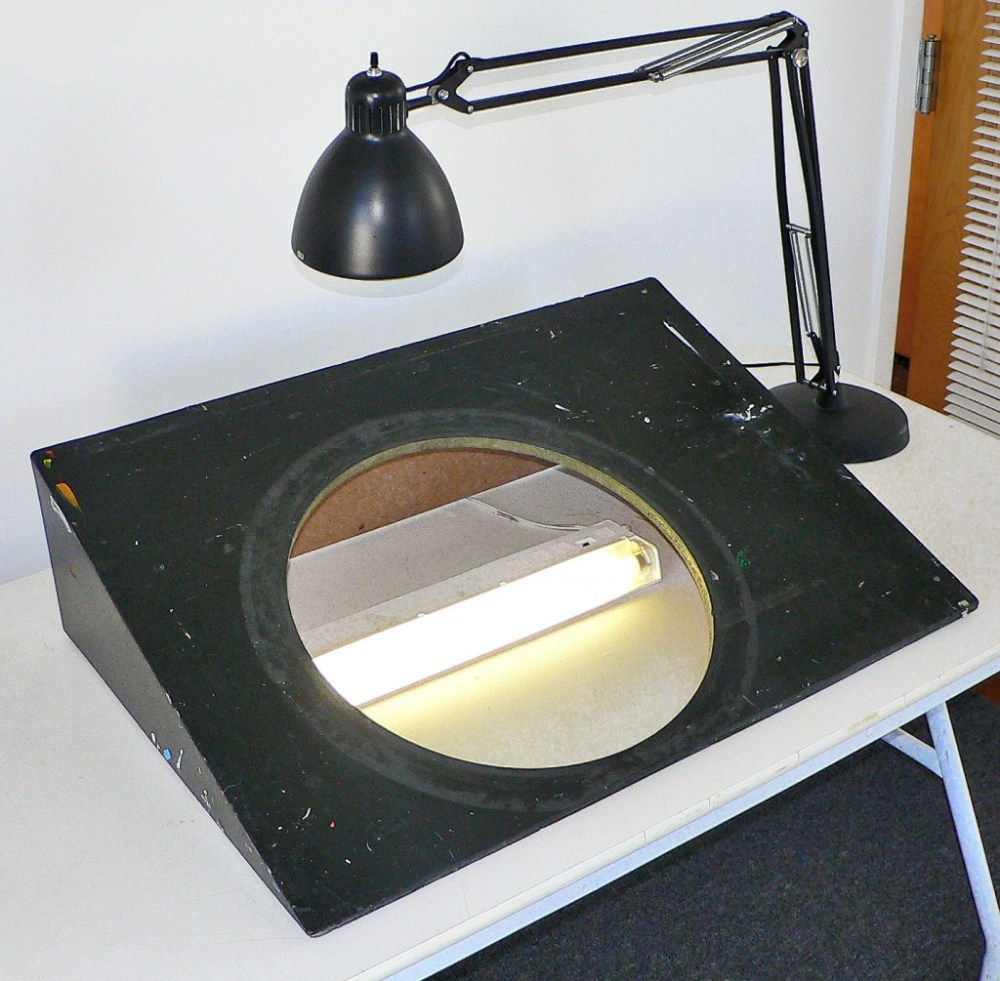 """lightbox wedge that came from R. O. Blechman's """"The Ink Tank"""" animation studio"""