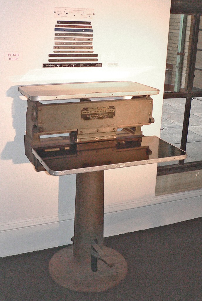 The paper punch used in the Bray Studios, with various examples of pegbars seen above