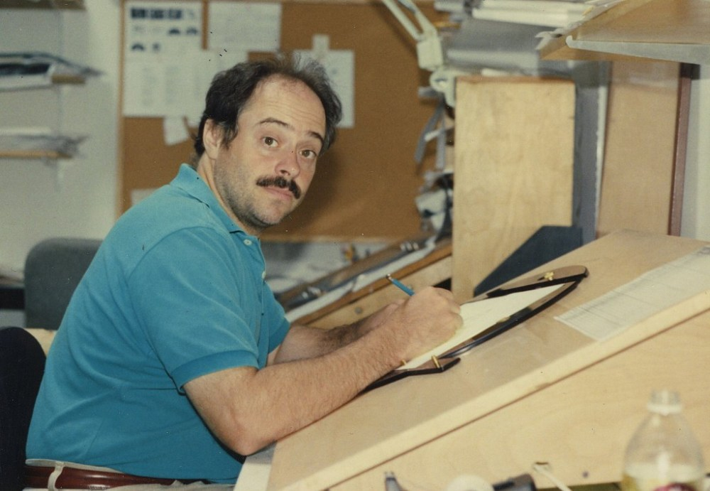 Animation artist Don Poynter at work on one of the JJSP maple wedges and Chromacolour discs