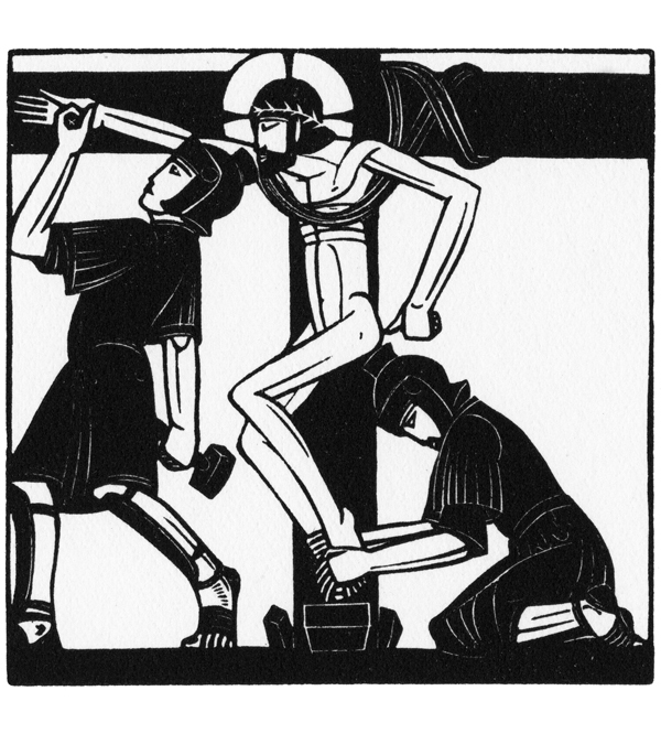 Jesus is Nailed to the Cross; illustration for The Way of the Cross, 1917; St. Dominic's Press.