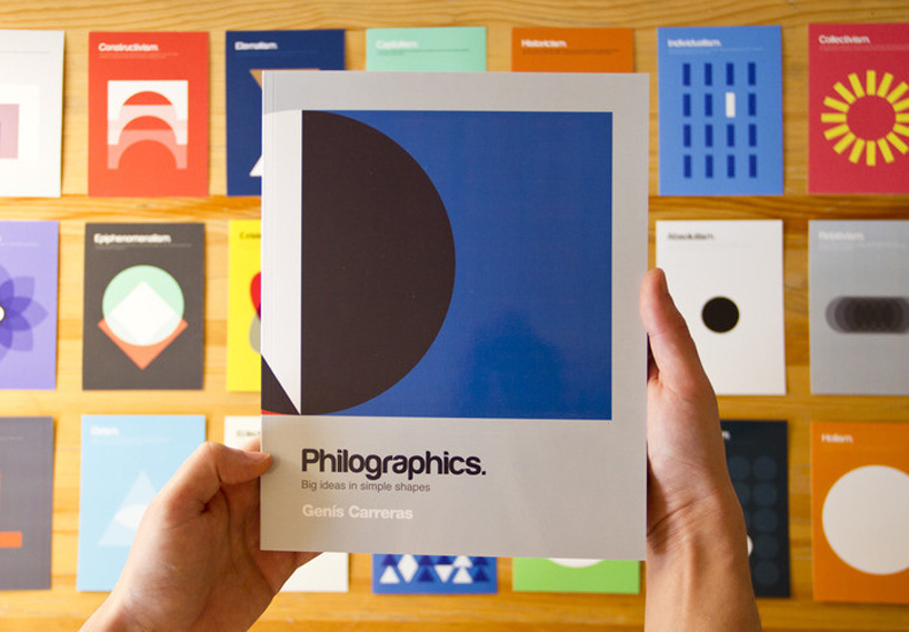 Genis Carreras postcard book on Philographics, a series of concepts represented with simple shapes, colors and iconography.