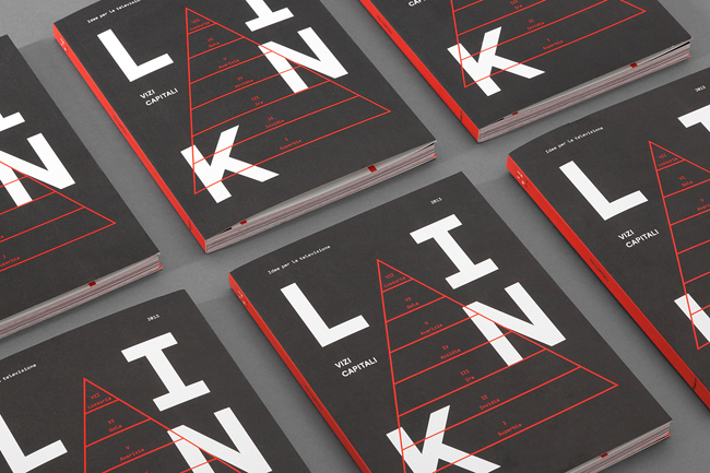 Strong use of black, red and white design by Davide Di Gennaro for Link Magazine, an ongoing Italian editorial project, the latest focuses on the seven deadly sins.