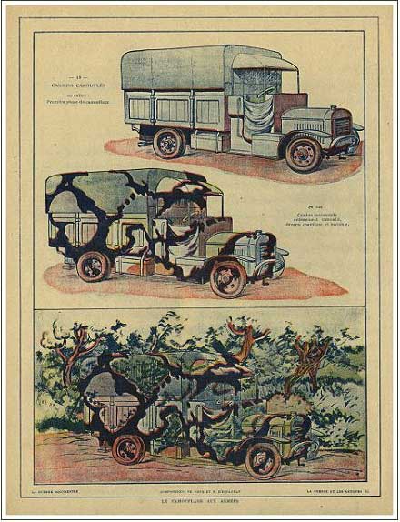 How to camouflage a truck, from La Guerre Documentée, vol. IV, c. 1920.