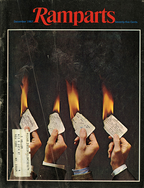 I began focusing on certain magazine art director's work. By far, the best was Dugald Stermer (whose hand holding the burning draft card is second from right).