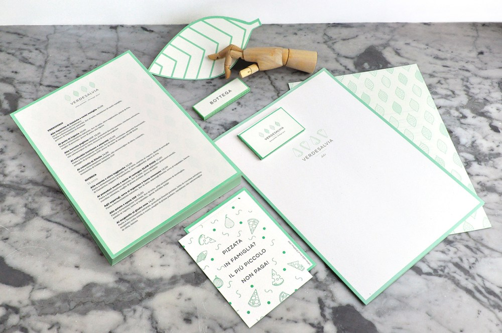 Logo and branding identity materials for Verde Salvia (Green Sage), a pizza restaurant in Italy. Designed by Pino Sartorio, via Behance: http://bit.ly/1tIsTzf