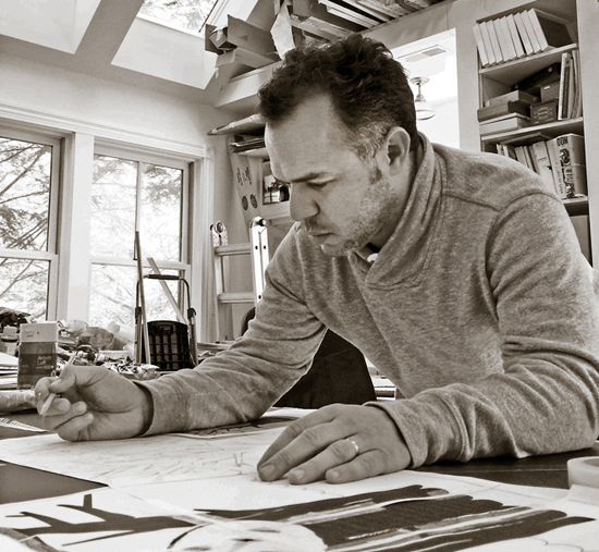 Edel Rodriguez working on the poster in his studio in New Jersey