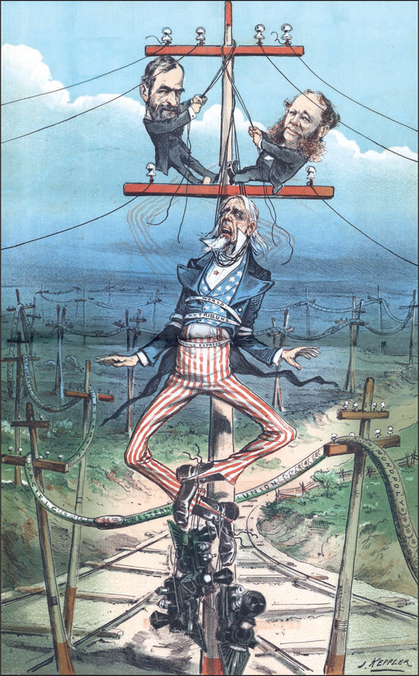 """Joseph Keppler: """"Don't fret, Uncle Sam, we only want to make a bigger man of you!"""" 1881."""