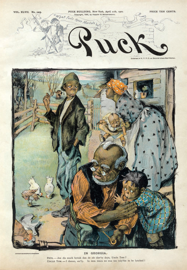"""Rose O'Neill, 1900. """"...this cartoon, masquerading as the typical black-man-as-the-butt-of-a-joke send-up, turned out to be a searing indictment of the lynching epidemic."""""""