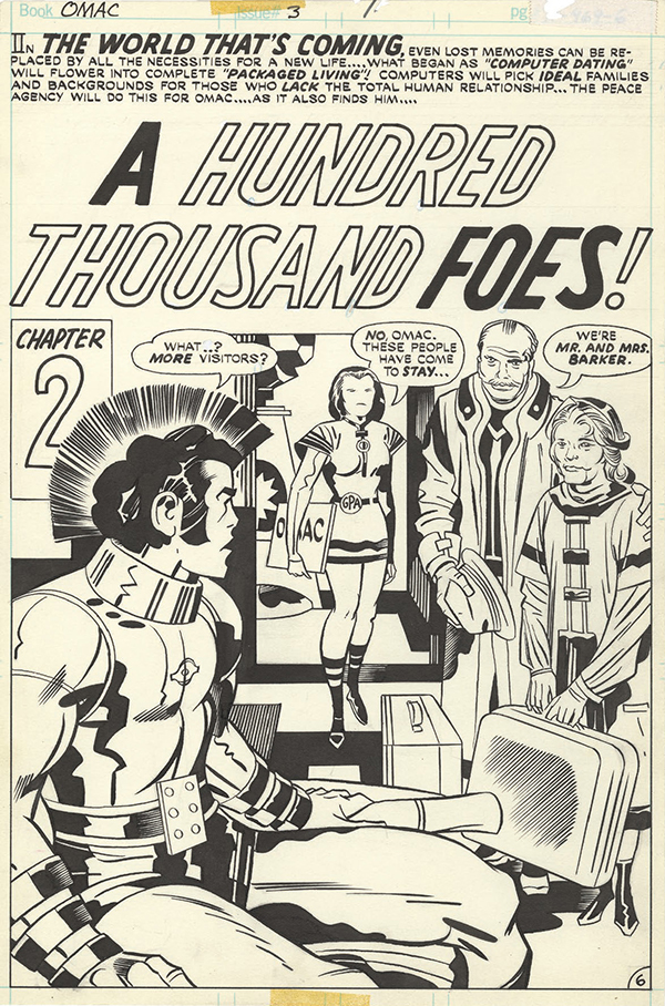 OMAC #3, 1975. Jack Kirby, pencils. D. Bruce Berry, inks and letters.