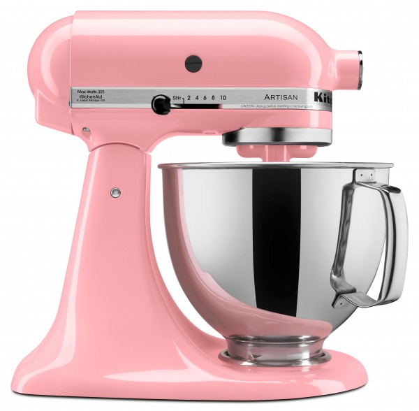 KitchenAid's iconic Stand Mixer in Guava Glaze, a warm pink tone informed by PANTONE 13-1520 Rose Quartz.