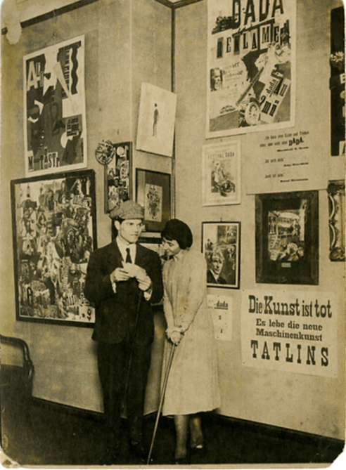 A youthful Raoul Hausmann and Hannah Höch at the Dada-Messe in Berlin, 1920.