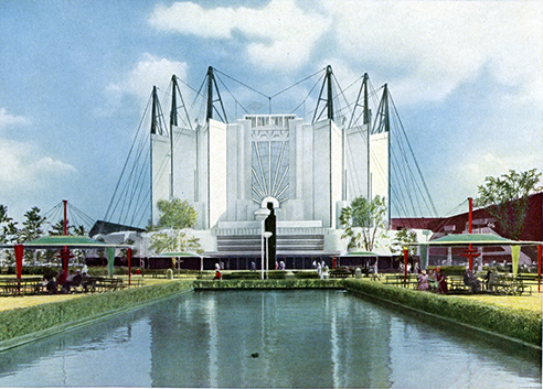 """The Travel and Transport Building reveals the """"first important application of the suspension bridge principle to architecture."""""""