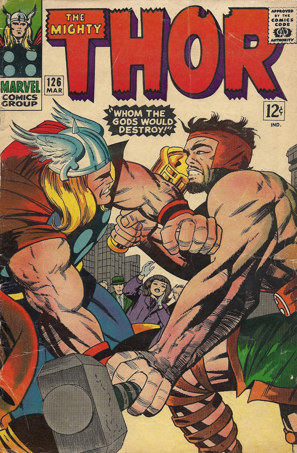 Cover to Thor 126, Marvel Comics, 1966, pencils by Jack Kirby, inks by Vincent Colletta