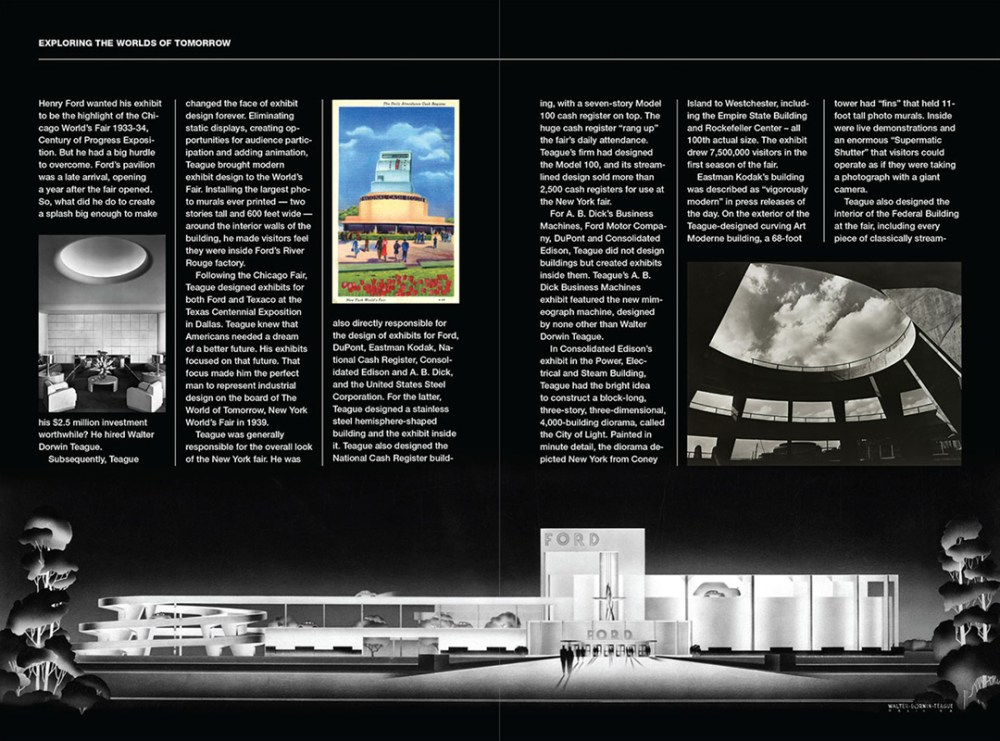 """Spread from issue 7 (2014) that tells the story of the """"Godfather of Industrial Design,"""" Walter Dorwin Teague."""