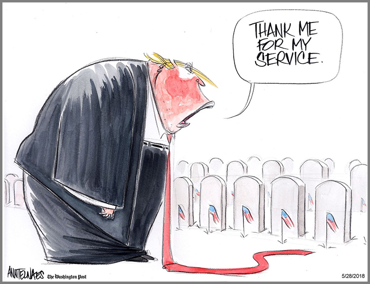 """""""thank me for my service"""" trump illustration"""