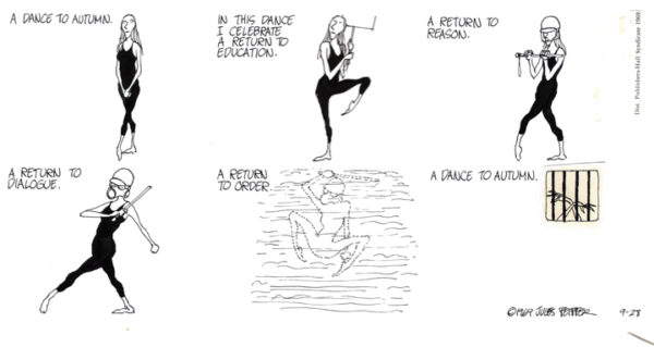 The political cartoons of Jules Feiffer were a mainstay.