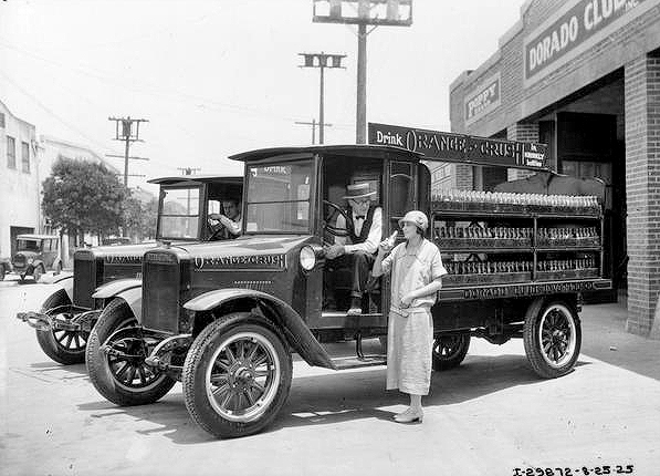 A 1925 publicity photograph showing an Orange Crush delivery truck