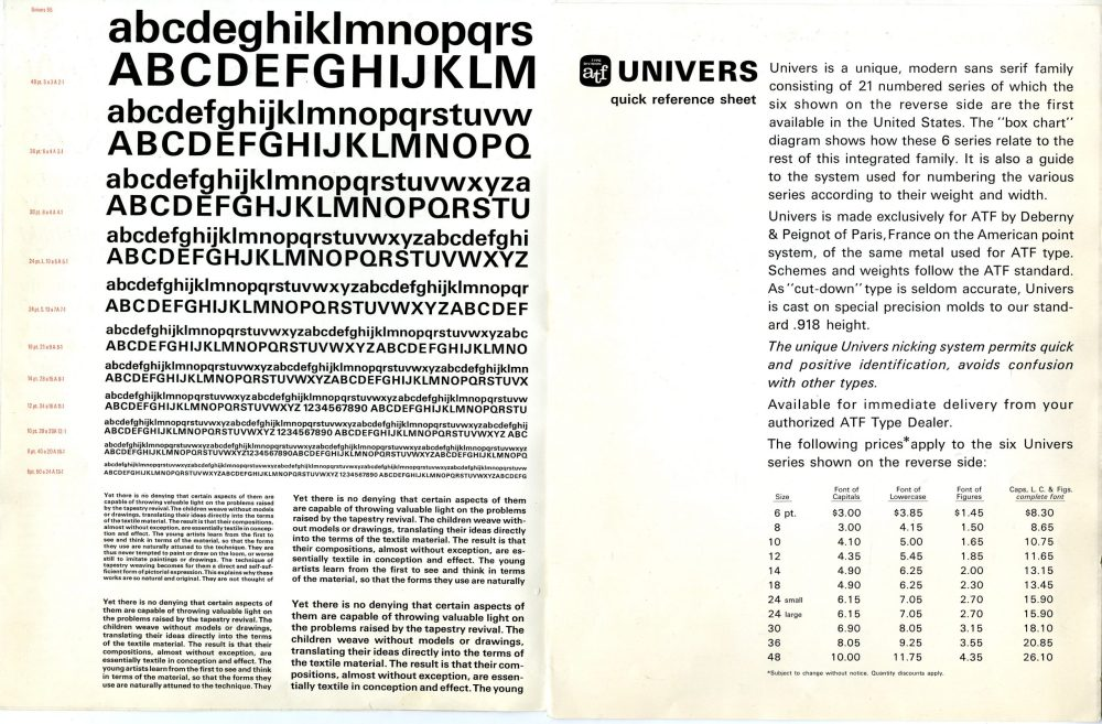 univers typeface applications