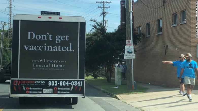 BooneOakley funeral home don't get vaccinated truck