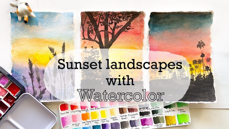 skillshare watercolor sunset landscape