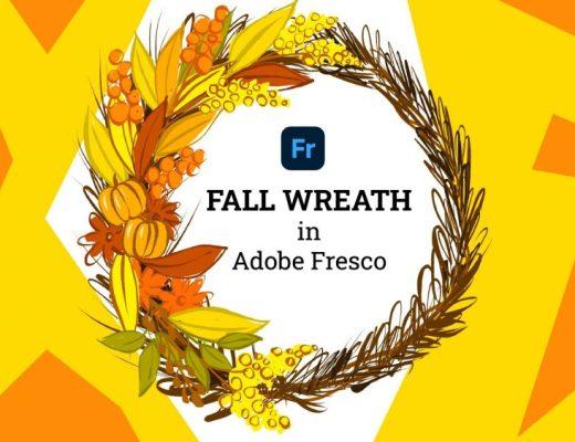 Fall wreath in Adobe fresco
