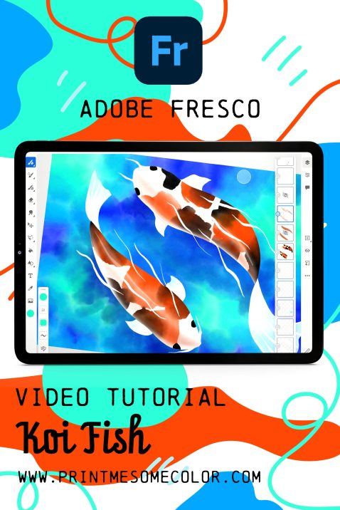 koi fish in Adobe fresco, adobe fresco tutorial