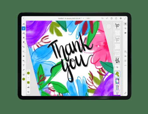 Thank you card adobe fresco tutorial
