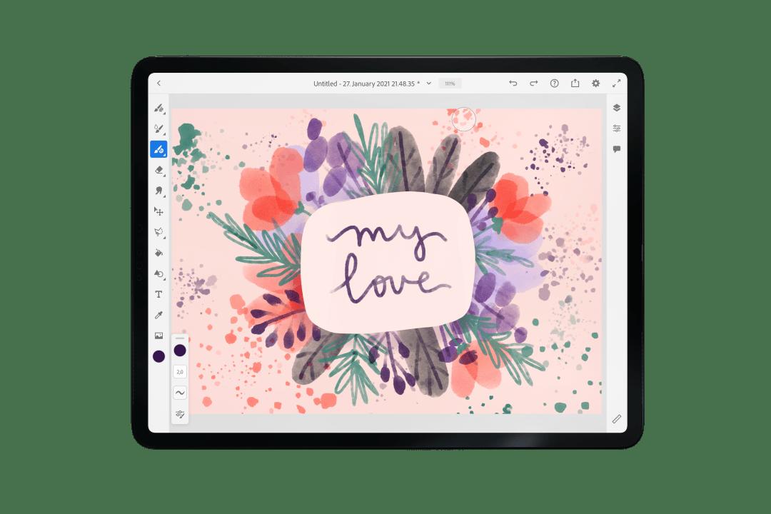 Valentine's day Adobe fresco tutorial