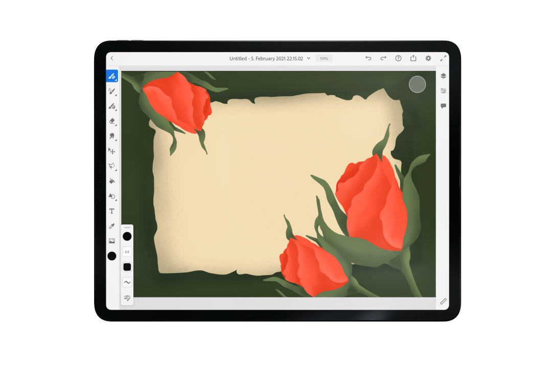 Vintage Roses and Paper Adobe fresco tutorial