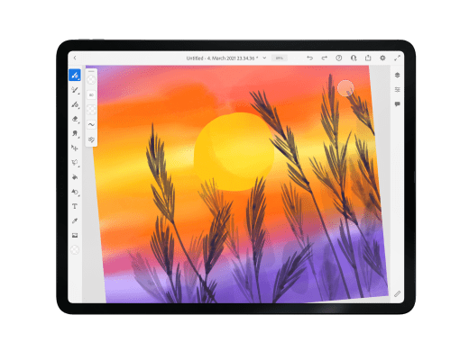 Adobe fresco tutorial, watercolor sunsets