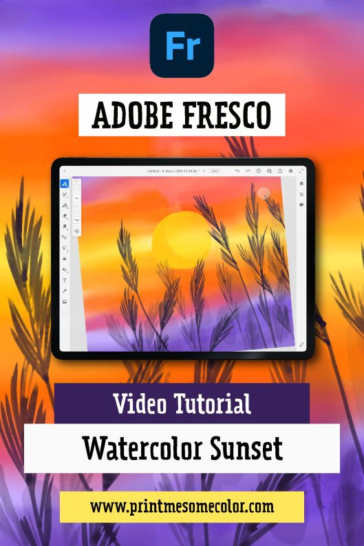 Adobe Fresco - Easy watercolor sunset using live brushes