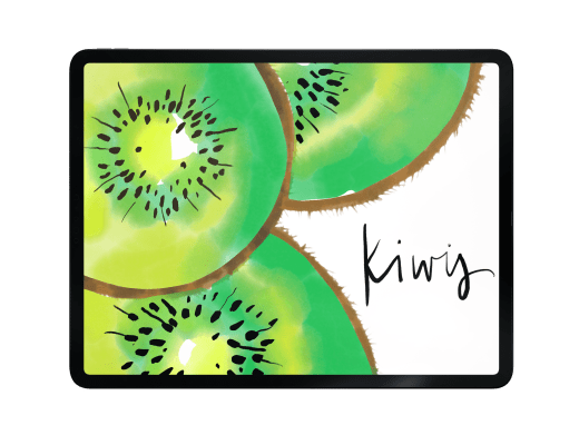 watercolor painting kiwis, adobe fresco tutorial, live brushes