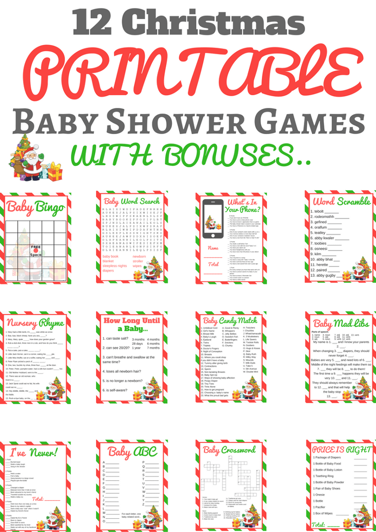 Christmas Baby Shower Printable Games