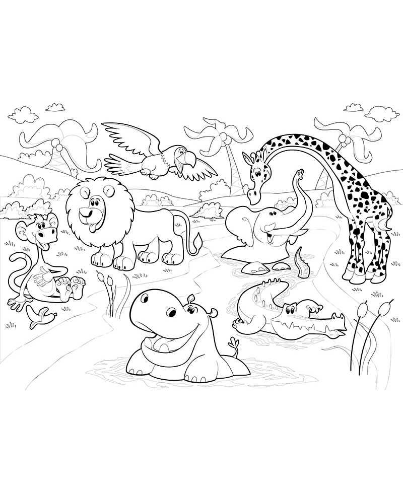 Poster géant à colorier animaux de la savane : lion, croco