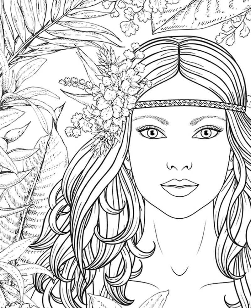 Coloriage géant femme amazone, jungle tropicale
