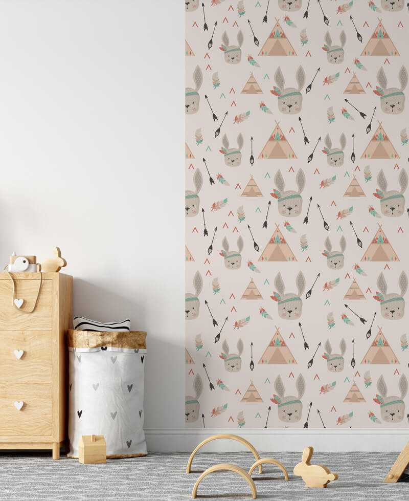 le de papier peint intisse chambre enfant motif lapin esprit boho