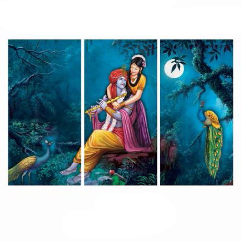 Midnight Meeting of Radha Krishna Wall Art Panel