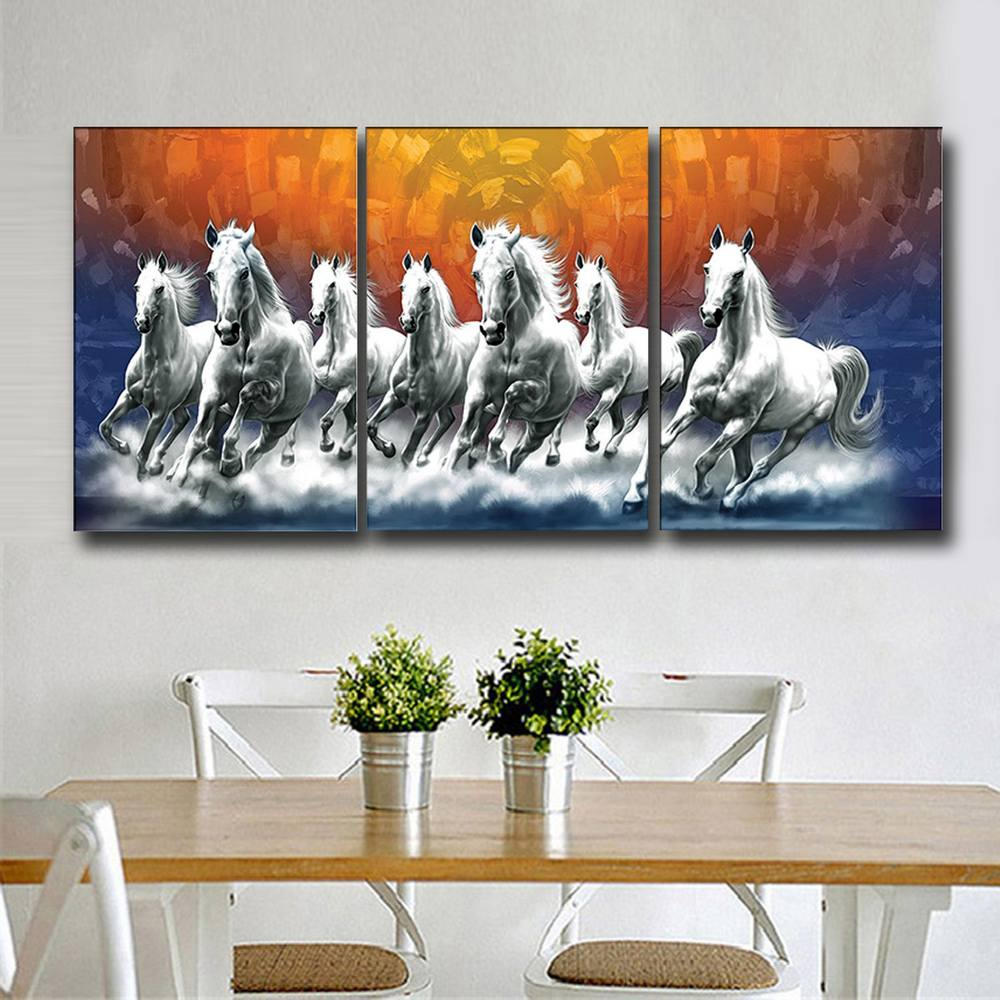 Running Horse Modern Drawing From Nature 3Panels HD Canvas Wall Pictures