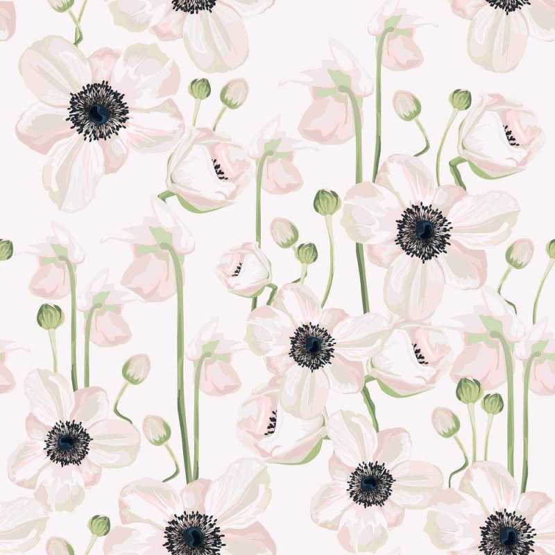 White Floral Pattern With Black Stamens Wall Covering, Tapete 2