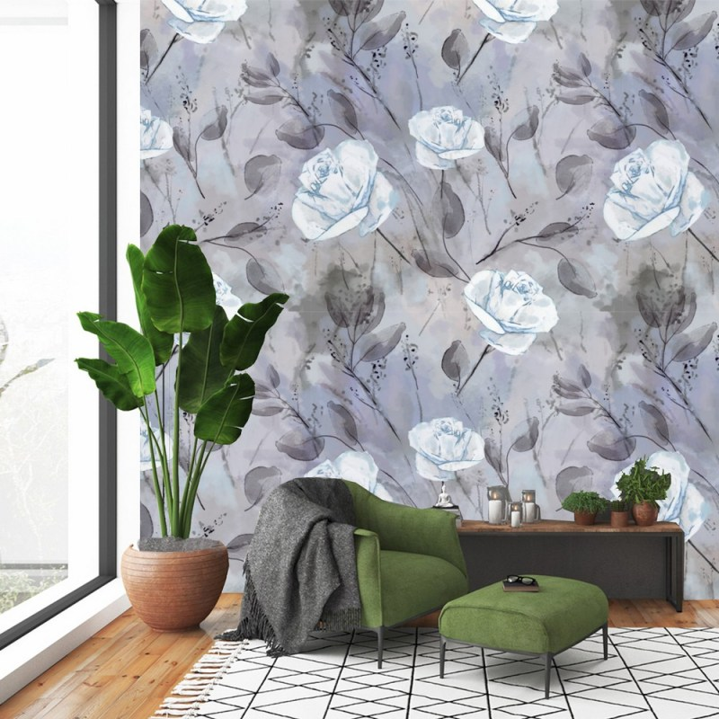Turquoise Roses Floral Wallpaper 1