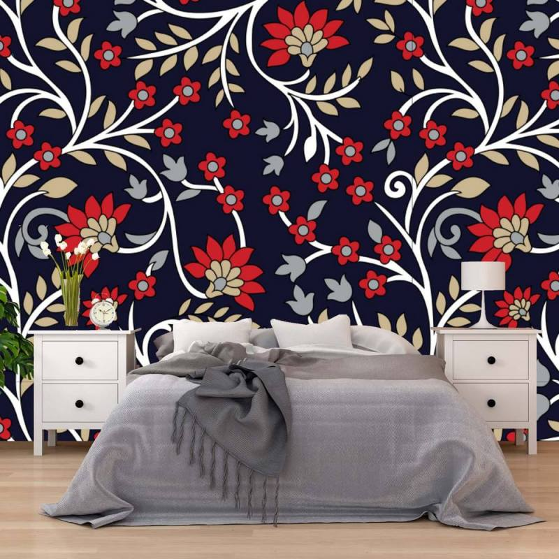 Buy Red Indian Paisley Wallpaper 1